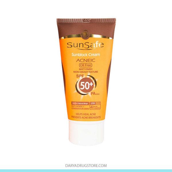 کرم ضد آفتاب بژ متوسط SPF50 سان سیف